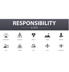 Responsibility simple concept icons set contains vector