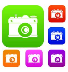 retro camera set collection vector image