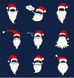 Santa hats mustache and beards vector