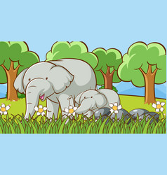 scene with elephants in park vector image