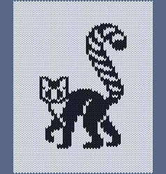 seamless knitted pattern with ring-tailed lemur vector image