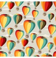 Seamless travel pattern of hot air balloons vector image