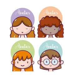 Set of girls avatar vector