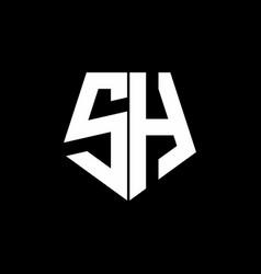 sh logo monogram with pentagon shape style design vector image