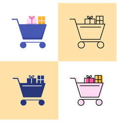 shopping cart with presents icon set in flat and vector image