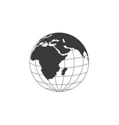 sign earth globe in black contour design vector image