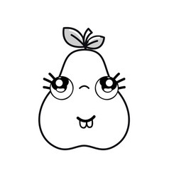 Silhouette kawaii nice thinking pear icon vector