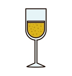 Silhouette with glass of champagne sour vector