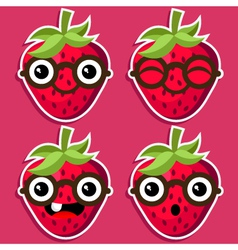 Smart Strawberries with Eyeglasses vector