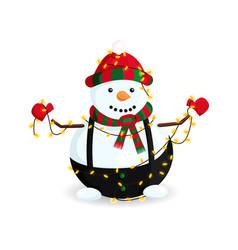 snowman in garland vector image