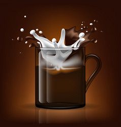 Splash in cup milk and coffee vector