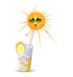 stylised sun and cocktail vector image