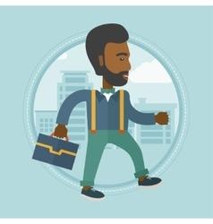Successful businessman walking in city vector