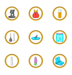 Surfing icons set cartoon style vector