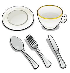 Tableware isolated on white background mug vector