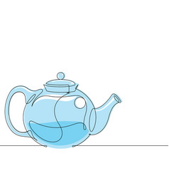 Tea pot continuous line vector