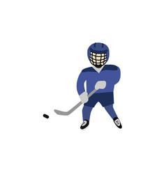 teenage boy in helmet and uniform playing hockey vector image