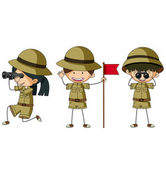 Three scouts in different actions vector