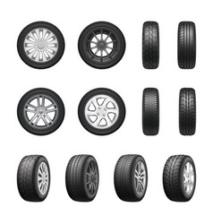 tires wheels realistic set vector image