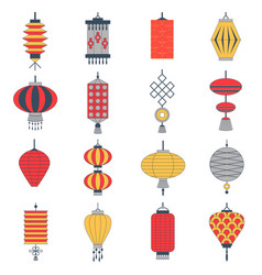 traditional chinese lanterns collection set vector image
