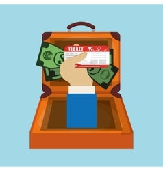 Travel suitcase hand hold money ticket vector