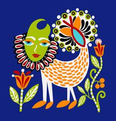 ukrainian ethnic traditional painting fantasy vector image