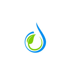 water drop abstract green leaf logo vector image