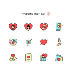 wedding outline icon set flat color object of vector image