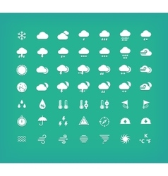 White silhouette weather icons set vector image