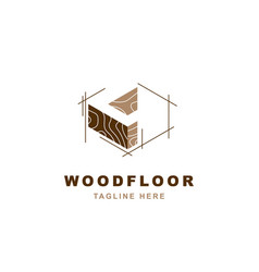 wood logo with letter l shape vector image
