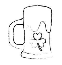beer glass drink foam and clover vector image