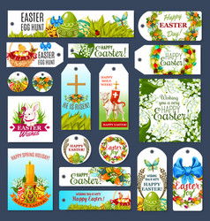 easter tag set with egg hunt rabbit and flowers vector image