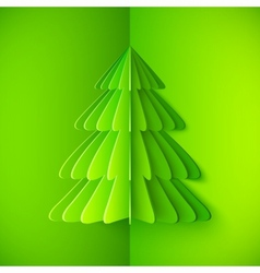 Green origami paper Christmas tree vector image