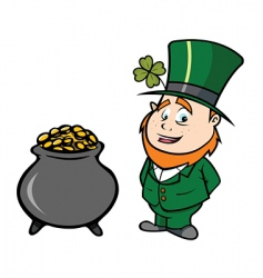 leprechaun pot of gold vector image vector image
