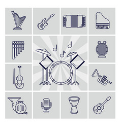 linear musical instruments icons set vector image