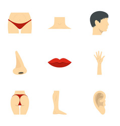 male and female body parts icons set flat style vector image