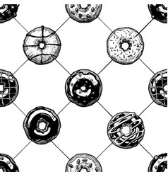 pattern with donuts vector image