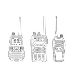 radio transceivers set of talkies with antenna vector image