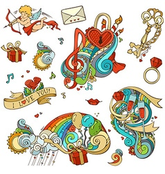 set of love doodles design elements isolated on vector image vector image