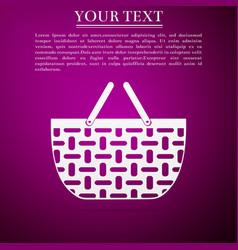 shopping basket flat icon on purple background vector image
