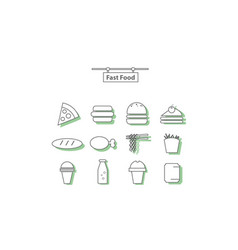 simple set fast food vector image vector image