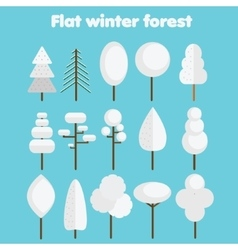 White trees Flat icons set winter forest symbols vector image vector image