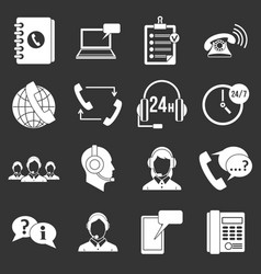 call center symbols icons set grey vector image vector image