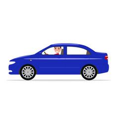 cartoon boy sitting in a car behind wheel vector image