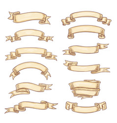 Icons old paper roll or manuscript ribbon vector