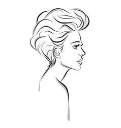 beautiful woman line art vector image vector image