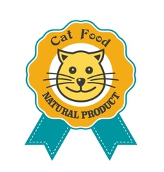 Cat Food emblem or badge vector image vector image