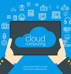 Cloud computing concept in flat design style Hand vector image