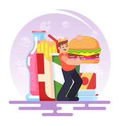 fat obese man eating fast food bad habit vector image vector image