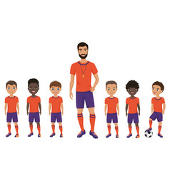 little school kids football team with a coach vector image